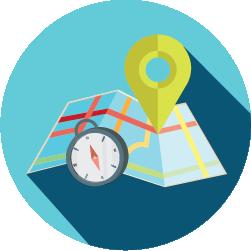 Mapa com pin e compasso