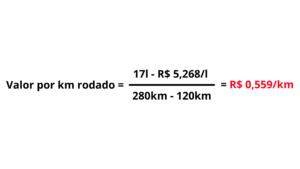 como calcular Valor gasto de combustivel por km rodado