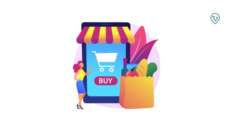 Aplicativo para delivery imagem com celular, sacola de compras com fruta