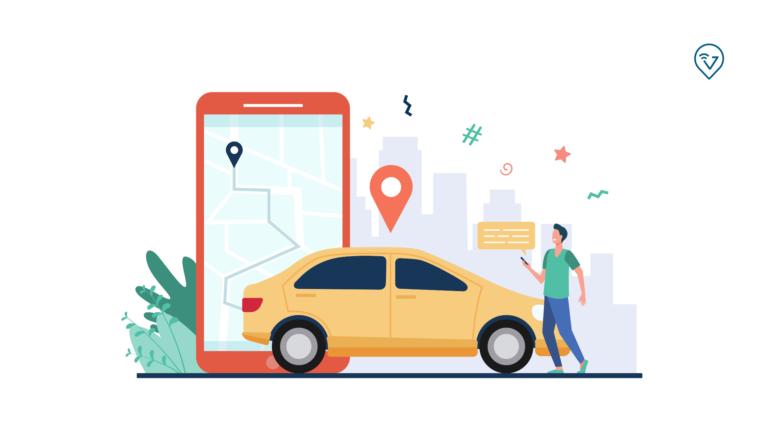 Aplicativo para tracar rotas de entregas, imagem com carro, pessoa e um gps