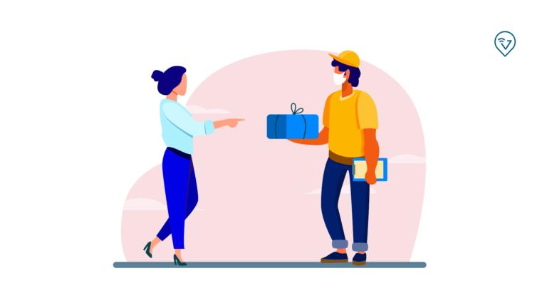 comprovante de entregas: desenho com homem com uma caixa e papel para recebido, entregando o produto para uma mulher